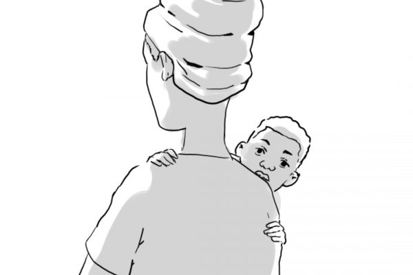 Illustration of a person wearing a headwrap and holding a newborn.