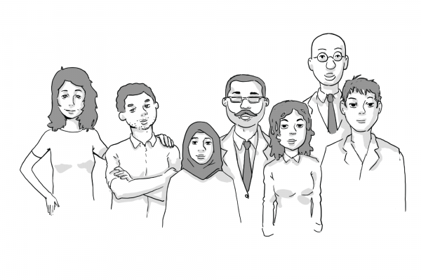 Illustration of seven people standing in a group together.