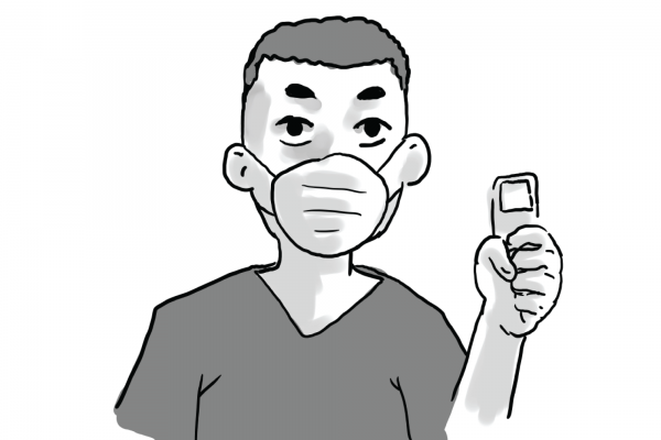 Person wearing a mask holds up a device.