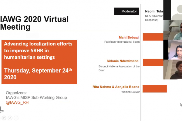 """Screenshot from the webinar, showing four speakers and the introductory slide titled """"Advancing localization efforts to improve SRHR in humanitarians settings, Thursday, September 24, 2020"""""""