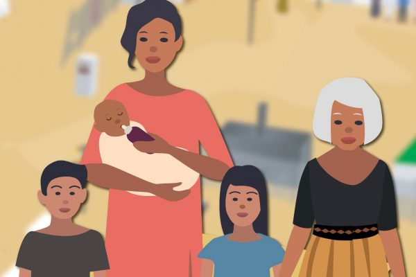 Illustration of a family, including a mother with three children (including a baby) and an older woman.